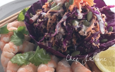 Purple cabbage salad with prawns