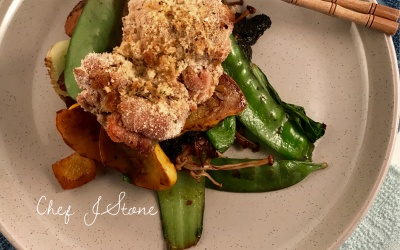 Coconut Crumbed Chicken & Stir Fried Veggies in a Mushroom and Garlic Sauce