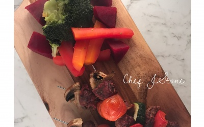 Tasty Kangaroo & Vegetable Skewers