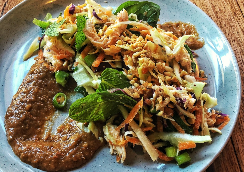 Asian chicken salad with tomato chilli jam
